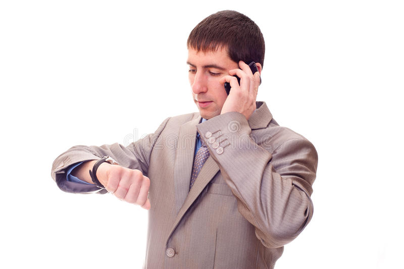 Man looking at watch stock images