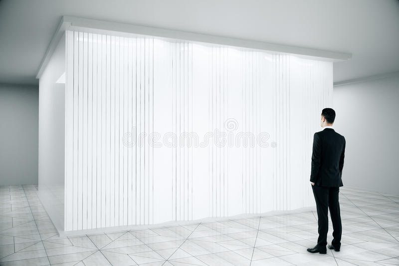 Download Man Looking At White Scene With Blinds Stock Image   Image Of  Architecture, Floor