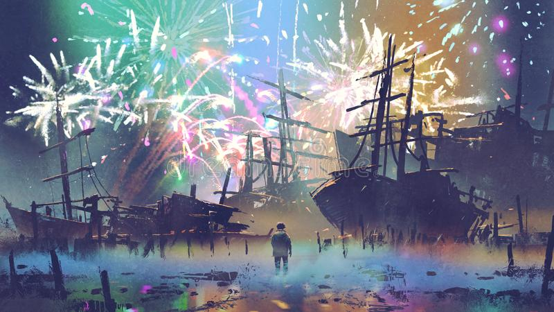 Man looking at wreck ships and fireworks. Man standing on the beach looking at wreck ships with fireworks on background, digital art style, illustration painting vector illustration