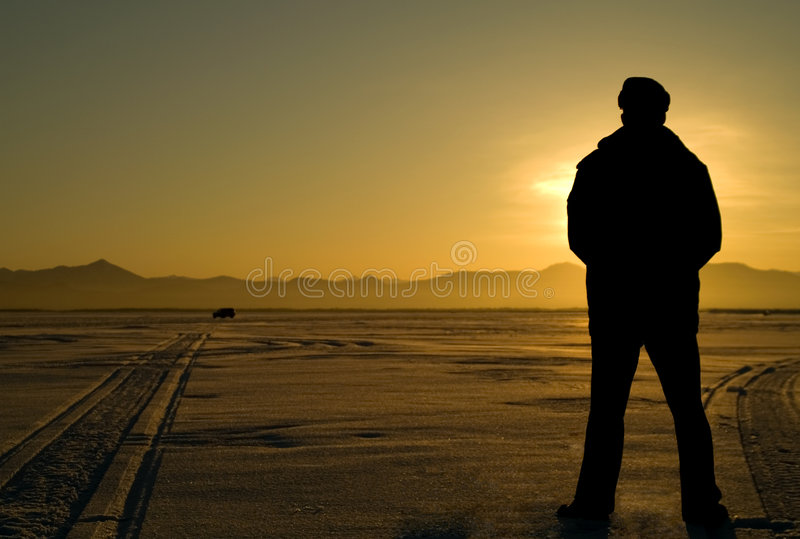 Man looks far. stock photo
