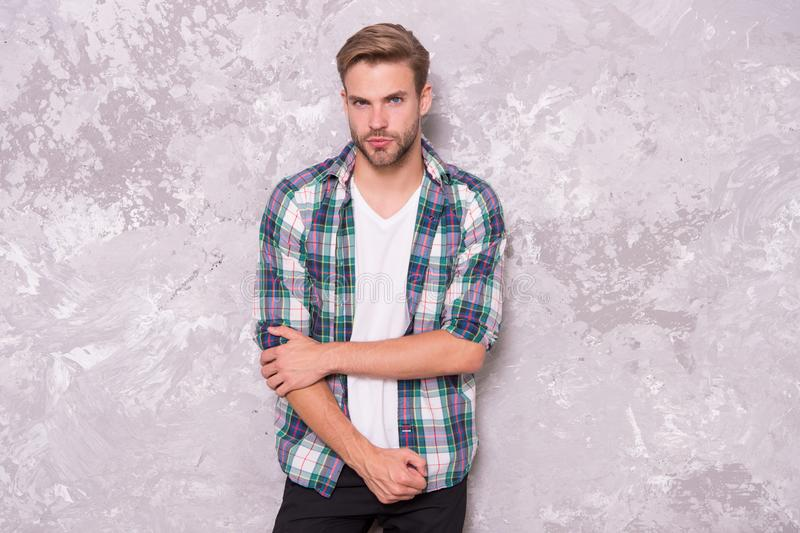 Man looks handsome in casual style. Discover latest styles of male clothes. Feeling casual and comfortable. Menswear and. Fashionable clothing. Guy wear casual royalty free stock image