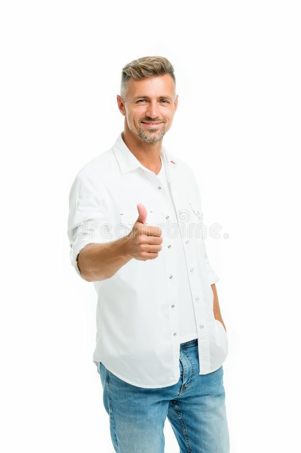 Man looks handsome in casual style. Guy wear casual outfit. Fashion concept. Handsome model. Discover latest styles of. Male clothes. Feeling casual and royalty free stock photo