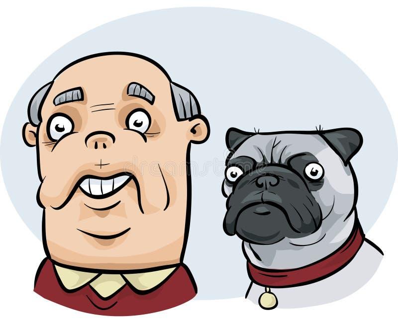 Man Looks Like Dog. A cartoon man who looks similar to his pug dog royalty free illustration