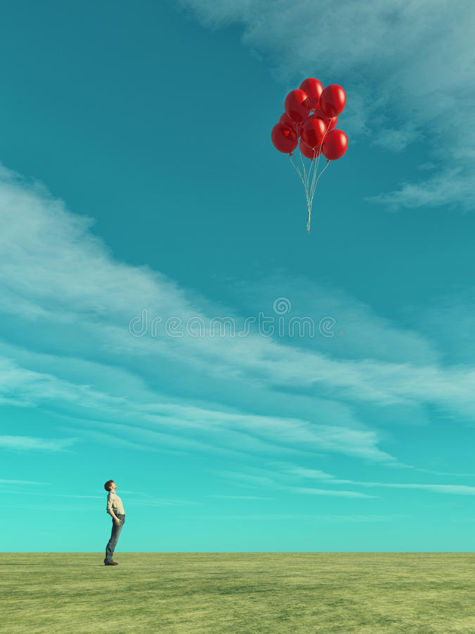 A man looks. At red balloons flying. This is a 3d render illustration royalty free illustration