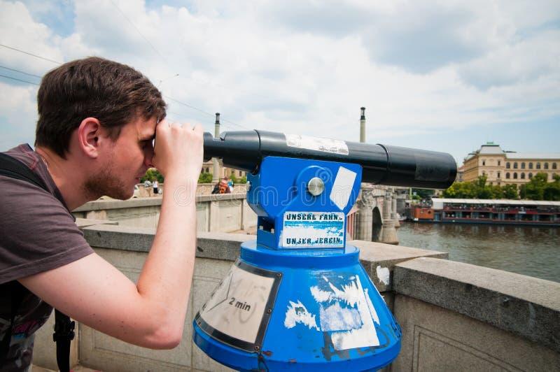 Download The Man Looks Through Telescope Stock Photo - Image: 23195640