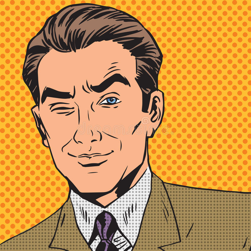 Man looks up closing one eye pop art comics retro royalty free illustration