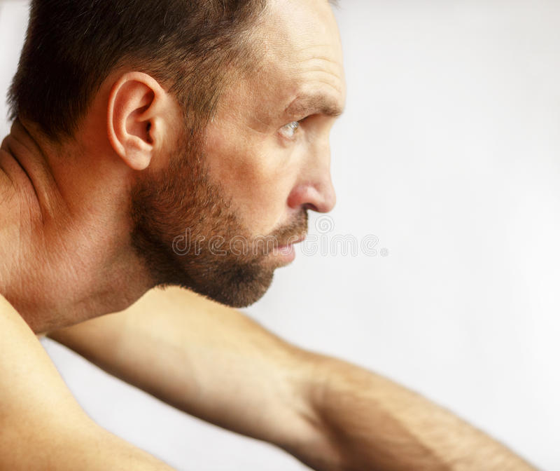 A man looks. On a white background house stock photos
