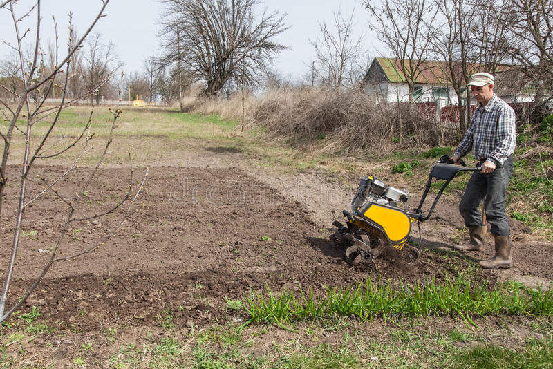 Man loosens the soil cultivator. Man working in the garden with garden tiller. Garden tiller to work. Man with tractor cultivating field at spring. Farmer stock photos