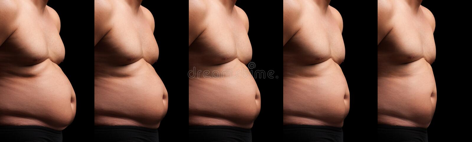 Fat Man Slimming royalty free stock photography
