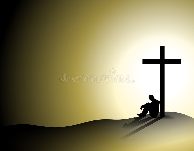 Man Losing Faith In Religion vector illustration