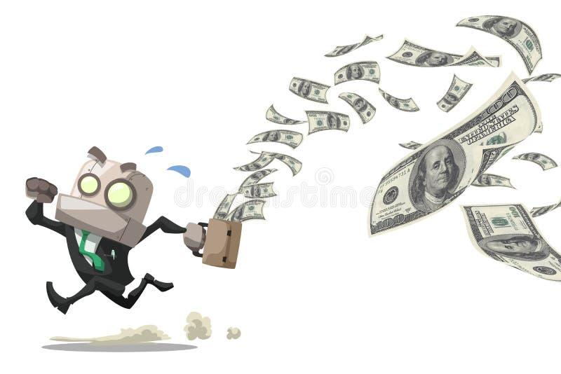 Man loss money. Businessman robot running while his bag leak money dollar bills in the air,business concept stock illustration