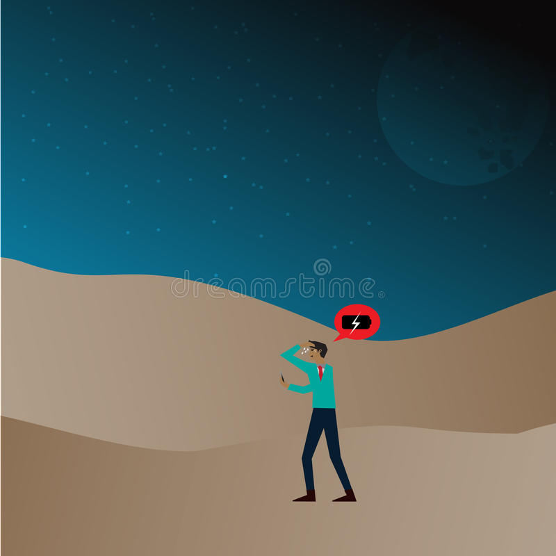 Man lost in desert and smartphone no battery royalty free illustration