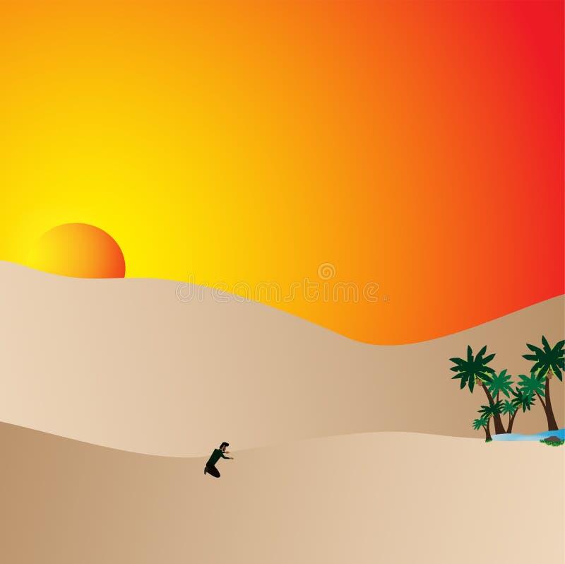 Man lost in desert vector illustration