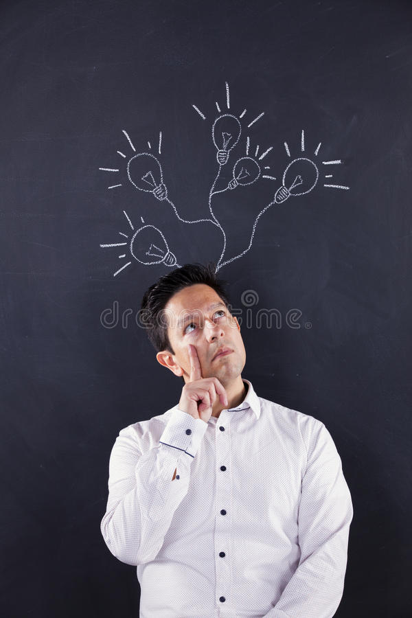 Man with lots of creativity royalty free stock image