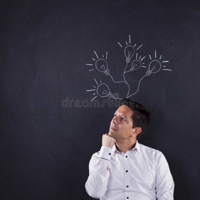 Man with lots of creativity royalty free stock photos