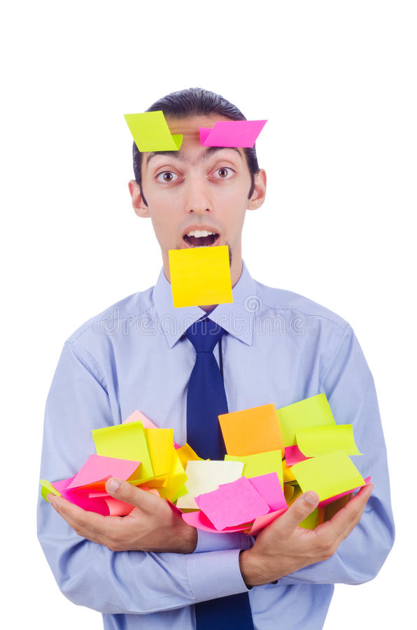 Man With Lots Of Reminder Stock Image