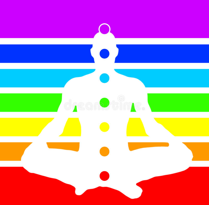 Man in lotus position with chakras royalty free stock images