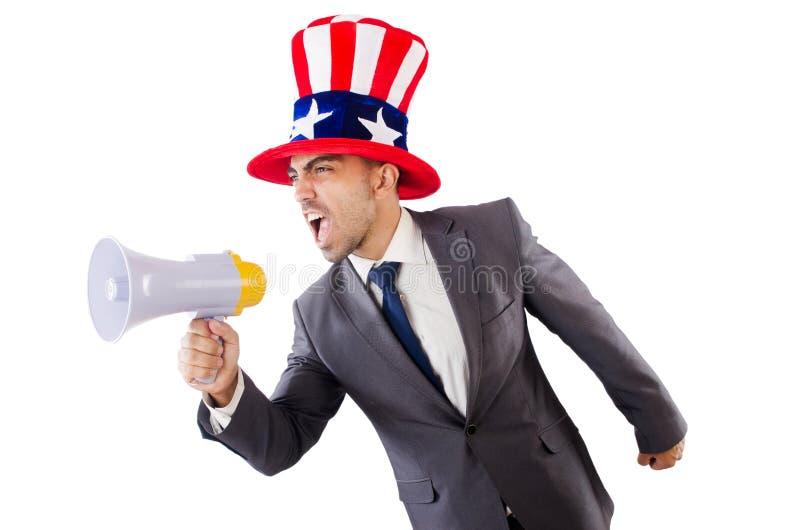 Man with loudspeaker royalty free stock image