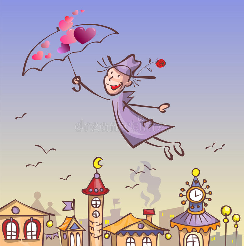 Man in love flying over the city stock illustration