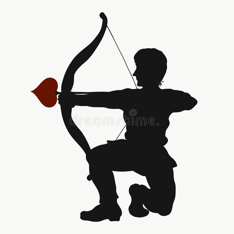 A man in love on his knees fires an arrow.  stock illustration