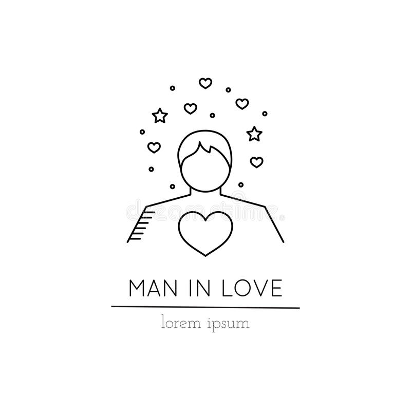 Man in love line icon. Vector thin line icon, man in love. Metaphor of amorousness and affection. Logo template illustration. Black on white isolated symbol stock illustration
