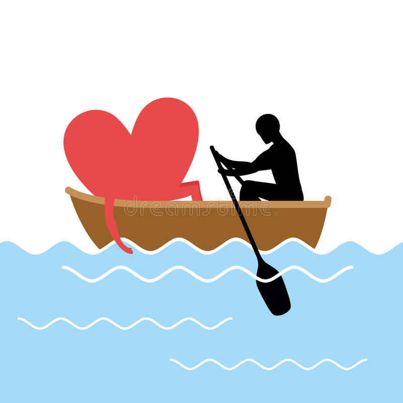 Man and love and ride in boat. Lovers of sailing. Man rolls hea. Rt of gondola. Rendezvous in the boat on pond. Romantic illustration for valentines day vector illustration