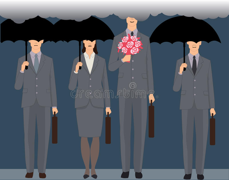 Man in love. A smiling man with a bouquet standing an a crowd of faceless business people under black umbrellas, his head is in the clouds, vector illustration vector illustration