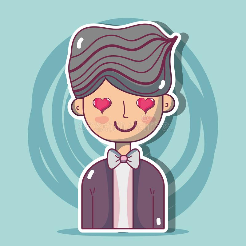 Man lover with hairstyle design. Vector illustration stock illustration