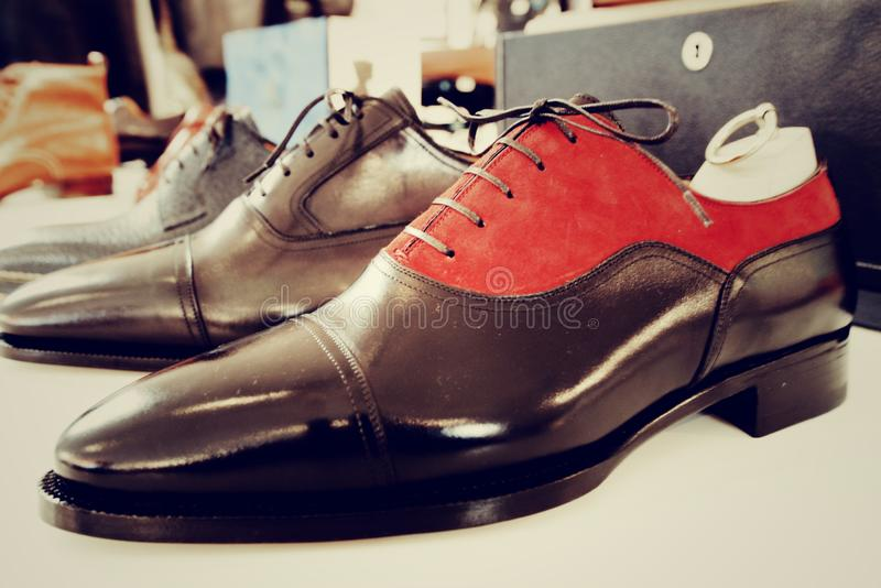Man luxury hand made shoes stock images