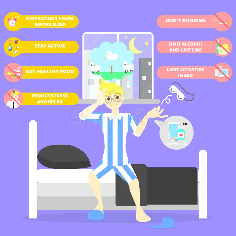 Man lying on bed, counting sheep, health care sleepless insomnia infographic concept royalty free illustration