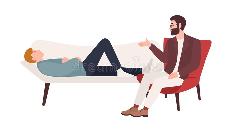 Man lying on coach and male psychologist, psychoanalyst or psychotherapist sitting beside and providing psychological. Aid. Professional psychotherapeutic vector illustration