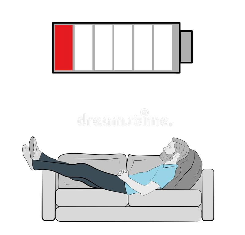 The man is lying on the couch tired. above it is a raging battery. concept of recreation. vector illustration. vector illustration