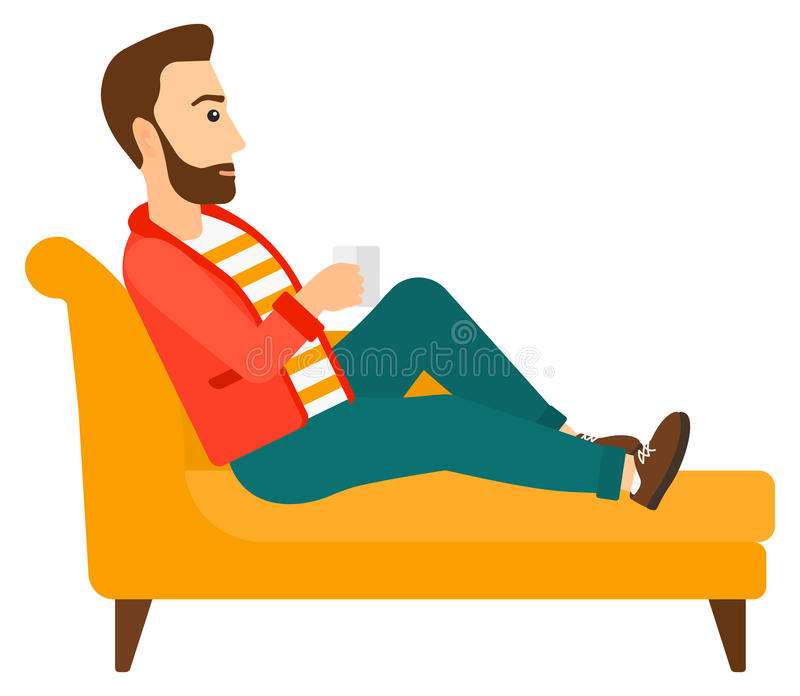 Man lying with cup of tea royalty free illustration