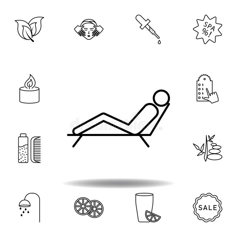 man lying on deck chair of spa outline icon. Detailed set of spa and relax illustrations icon. Can be used for web, logo, mobile royalty free illustration