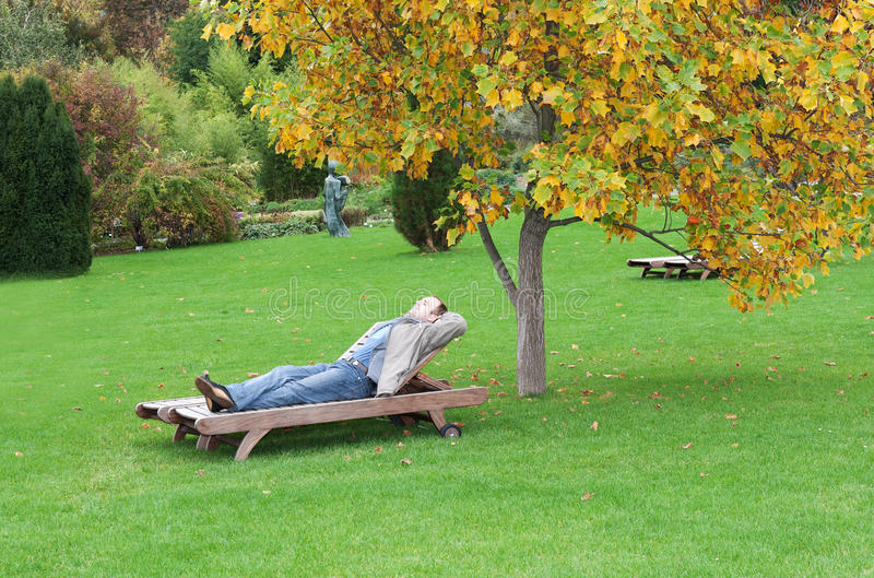 Download A man, lying on a lounger stock image. Image of caucasian - 17218847