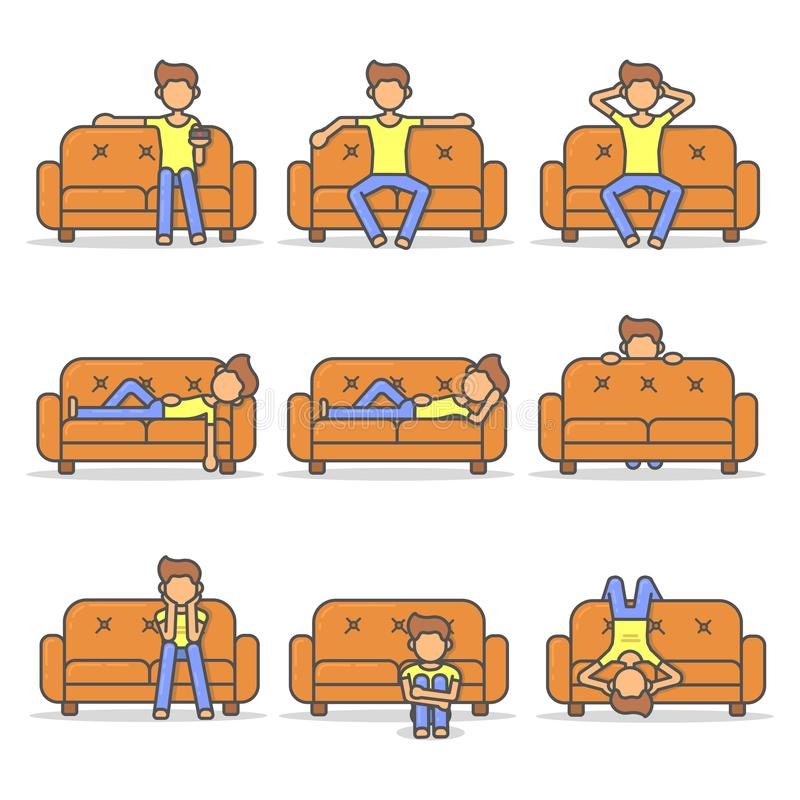 Man lying, relax, lazy and scary on couch in room flat style set. Big kit vector character on sofa line illustration icon stock illustration