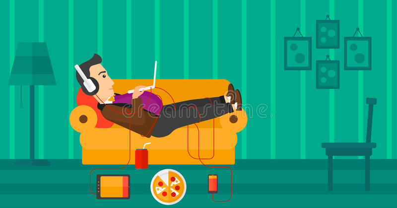 Man lying on sofa with many gadgets. vector illustration