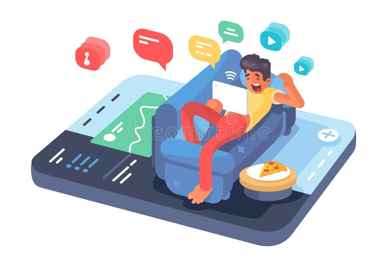 Man lying on sofa with tablet vector illustration