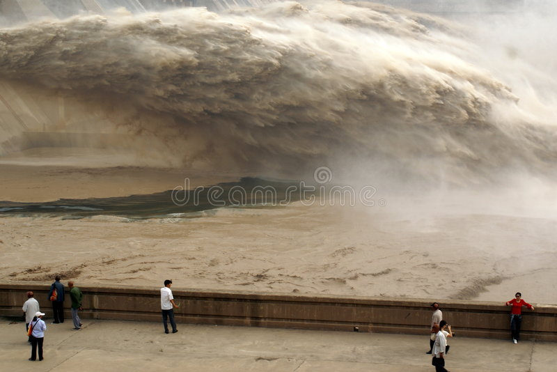 A man-made dam outlet flood pe stock images