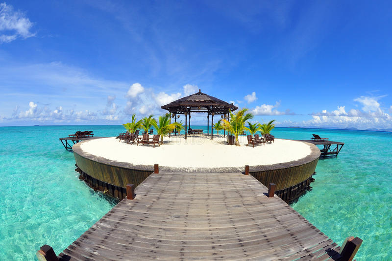 A man-made walkway Kapalai island with exotic trop stock photos