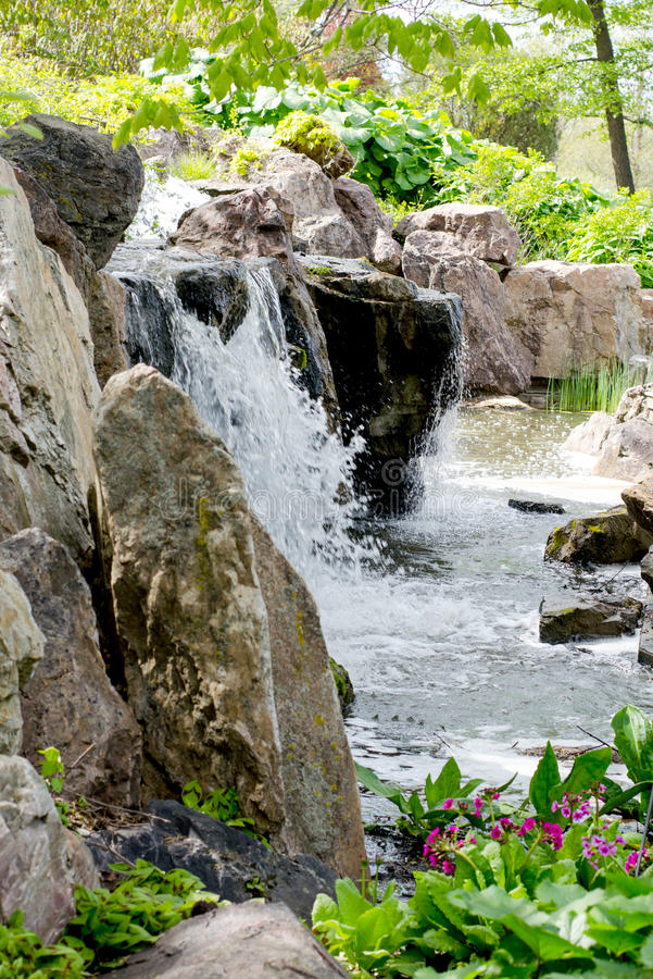 Man made waterfalls in Illinois USA royalty free stock images