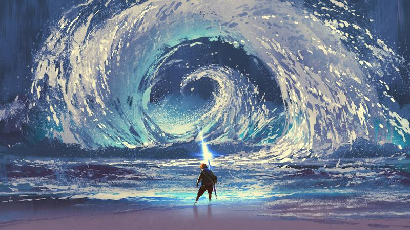 Man with magic spear makes a swirling sea. In the sky, digital art style, illustration painting royalty free illustration
