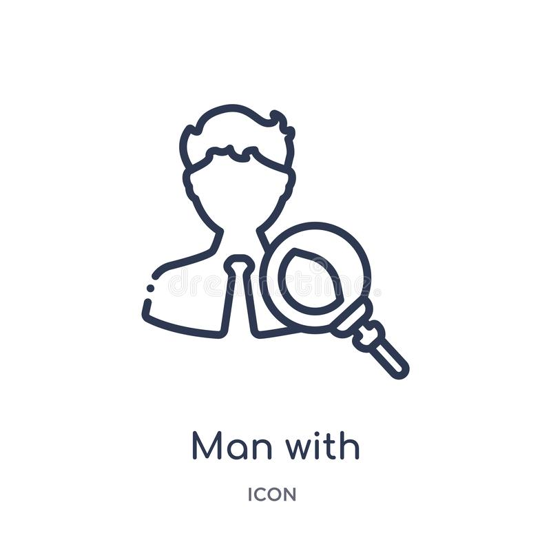 man with magnifying flass icon from other outline collection. Thin line man with magnifying flass icon isolated on white royalty free illustration