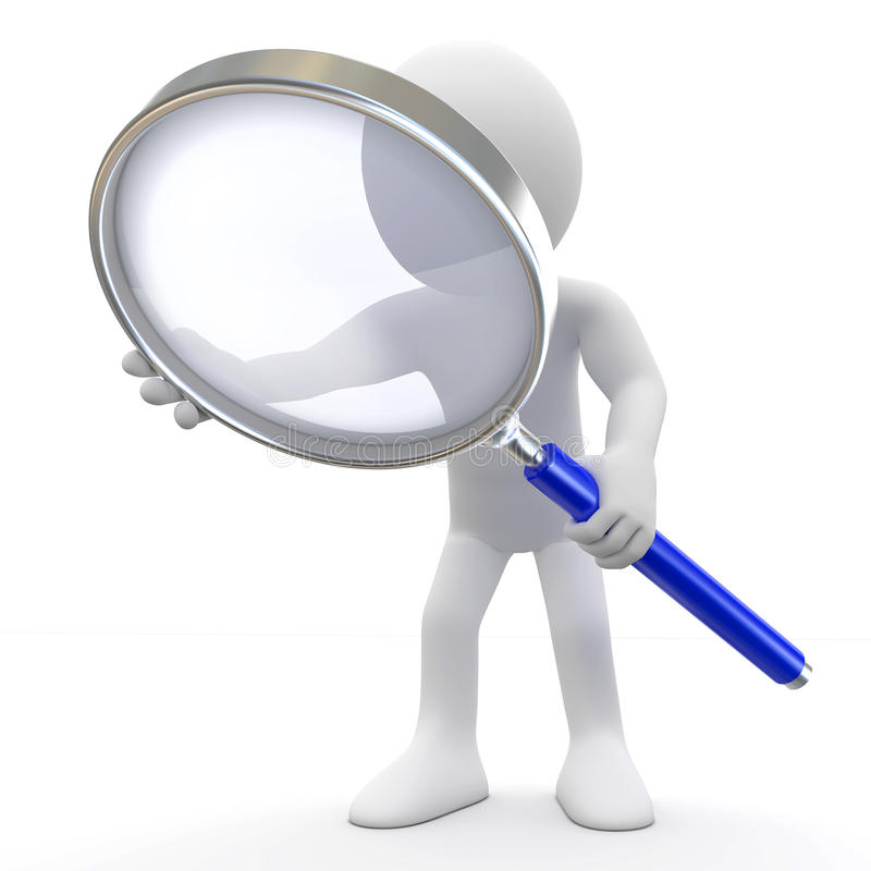 Man with magnifying glass stock illustration