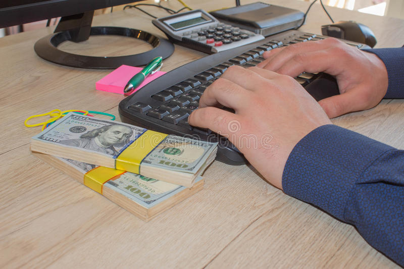 Man make money by business online. Make money easy online royalty free stock images