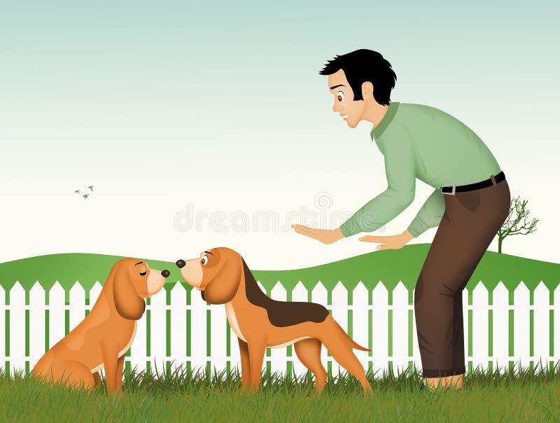 Man makes the dog pair. Illustration of man makes the dog pair vector illustration