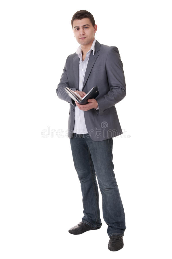 Download Man Makes A Note In Notebook. Stock Image - Image of occupation, paper: 20035921