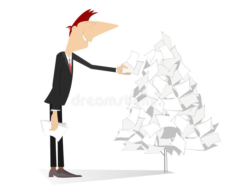 Man makes a paper tree. Smiling man makes a paper tree using documents vector illustration