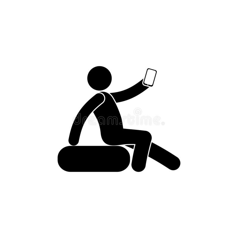 Man makes selfie while sitting, human silhouette with a phone, isolated pictogram stock illustration