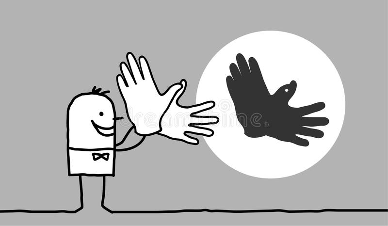 Man making bird shadow with hands. Hand drawn cartoon characters - man making bird shadow with his hands stock illustration